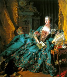 Madame Pompadour in an extravagant gown in Rococo style